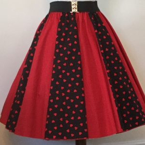 Ladies Black with Red Hearts / Plain Red Full Circle Panel Skirt