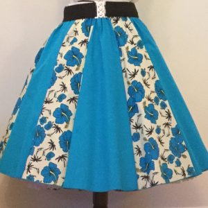 Cream Tropical / Plain Turquoise Circle Panel Skirt