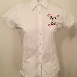 Ready Embroidered Short Sleeved White Blouse (Medium)