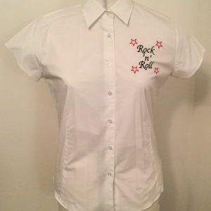 Ready Embroidered Short Sleeved White Blouse (Medium)