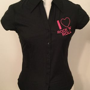 Ready Embroidered Cap Sleeved Black Blouse (Size 10)
