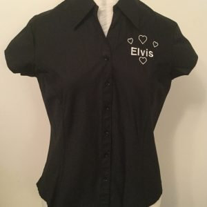 Ready Embroidered Cap Sleeved Black Blouse (Size 14)