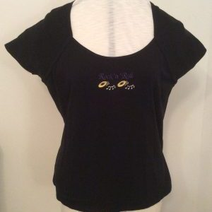 Ready Embroidered Black Scoop Necked T-Shirt (Size 20/22)