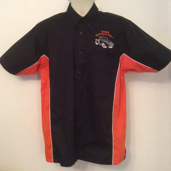 Ready Embroidered 185 Black / Orange Shirt (Size Medium)
