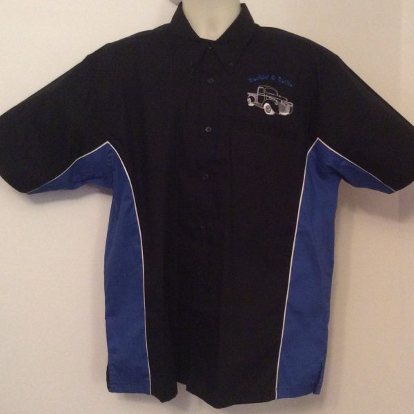 Ready Embroidered 185 Black / Blue Shirt (Size Large)