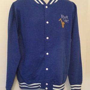 Unisex College Sweatshirt Jacket Royal/ White(XLarge)
