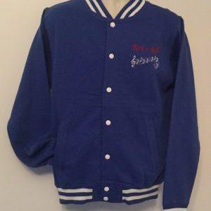Unisex College Sweatshirt Jacket Royal/ White(Medium)