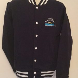 Unisex College Sweatshirt Jacket Navy/ White(Small)