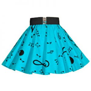 Childs Blue /Blk Music Notes Print Skirt
