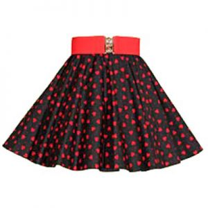 Childs Blk /Red Hearts Print Skirt