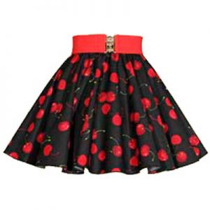 Childs Black Cherries Print Circle Skirt