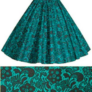 Childs Jade Green / Blk Lace Print Skirt