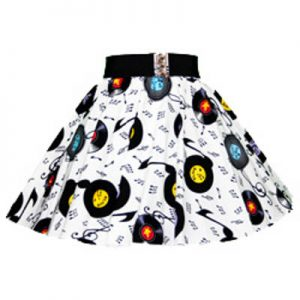 Childs White Records Print Circle Skirt