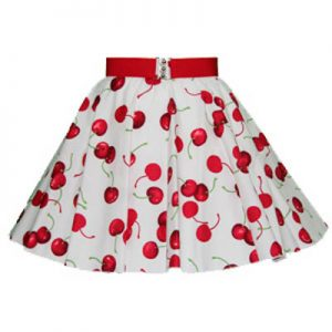 Childs White Cherries Print Circle Skirt