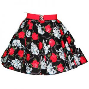 Childs Skull & Roses Print Circle Skirt