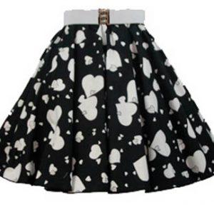 Childs Random Wht Hearts Print  Skirt