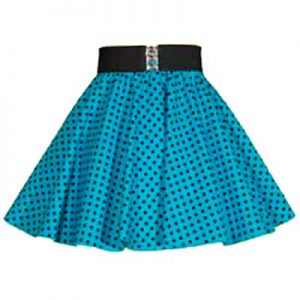 Childs Turq Blue / Blk 7mm PD Circle Skirt