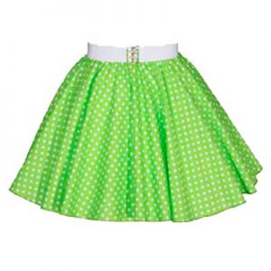 Sale – 15″ Lime Green/White PD Circle Skirt (XS) Free n/chief
