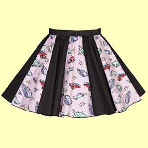 Plain Black & Pink Classic Cars Print Panel Skirt