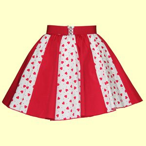 White / Red Hearts & Plain Red Panel Skirt