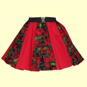 Tulips Print & Plain Red Panel Skirt