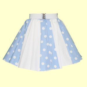 Pale Blue/White PD & Plain White Panel Skirt