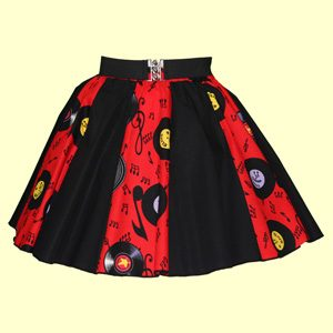 Childs Red Records / Plain Black Panel Skirt