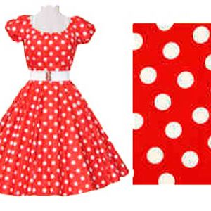 1950's Rock n Roll Red / White Polkadot Dress
