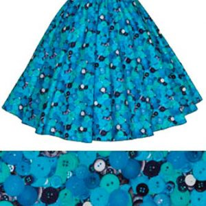 Blue Buttons Print Circle Skirt