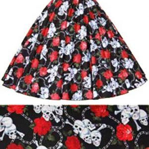 Skull /Roses Print Circle Skirt