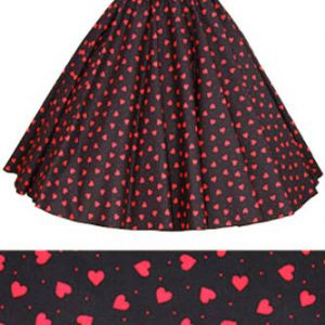 Black / Red Hearts Print Circle Skirt