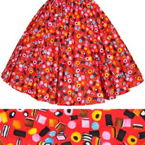 Childs Red Allsorts Print Circle Skirt