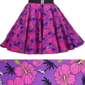 Purple /Tropical Print  Circle Skirt
