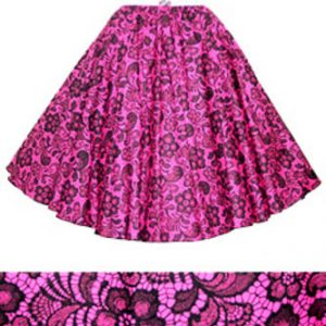 Cerise / Black Lace Print  Circle Skirt