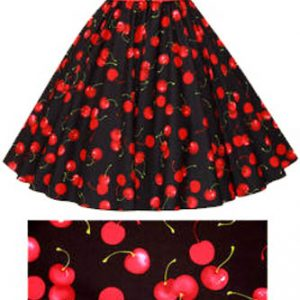 Black / Red Cherries Print Circle Skirt