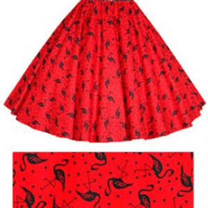 Red Flamingos Print Circle Skirt
