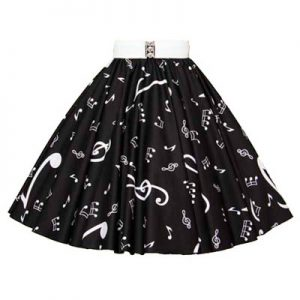 Black with large white Muic Notes patterned Skirt