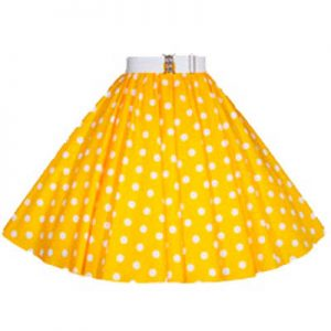 Yellow / White Polkadot Circle Skirt