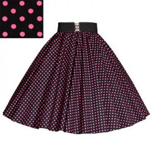 Black /Pink 7mm Polkadot Circle Skirt