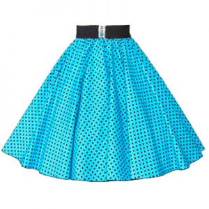 Turq Blue / Black 7mm Polkadot Circle Skirt