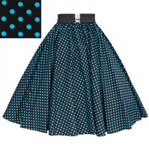 Black/ Turq Blue 7mm Polkadot Circle Skirt