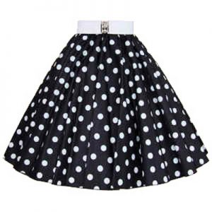Black / White Polkadot Circle Skirt