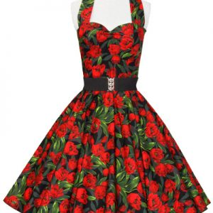 Tulips Print Halter Neck Dress
