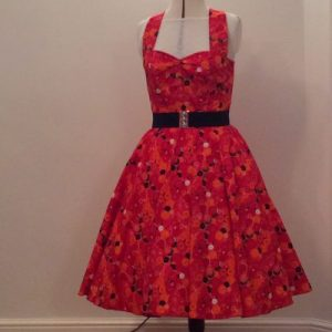 Red Buttons Halter Neck Dress