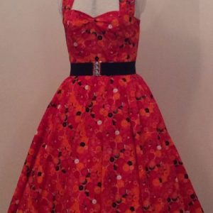 Red Buttons Print Halterneck Dress