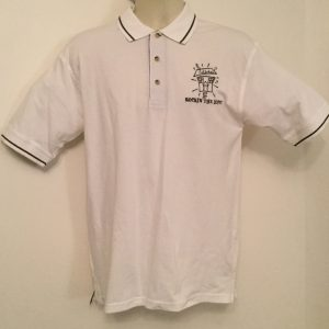 Sale -Ready Emb Mens White/ Navy Polo Shirt (Size Small)