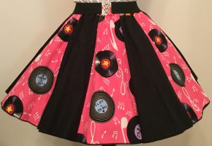 Pink Records & Plain Black Panel Skirt