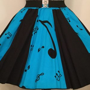 Turq Music Notes & Plain Black Panel Skirt