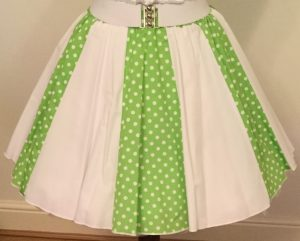 Lime Green /White 7mm PD & Plain White Panel Skirt