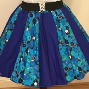 Blue Buttons & Plain Blue Panel Skirt